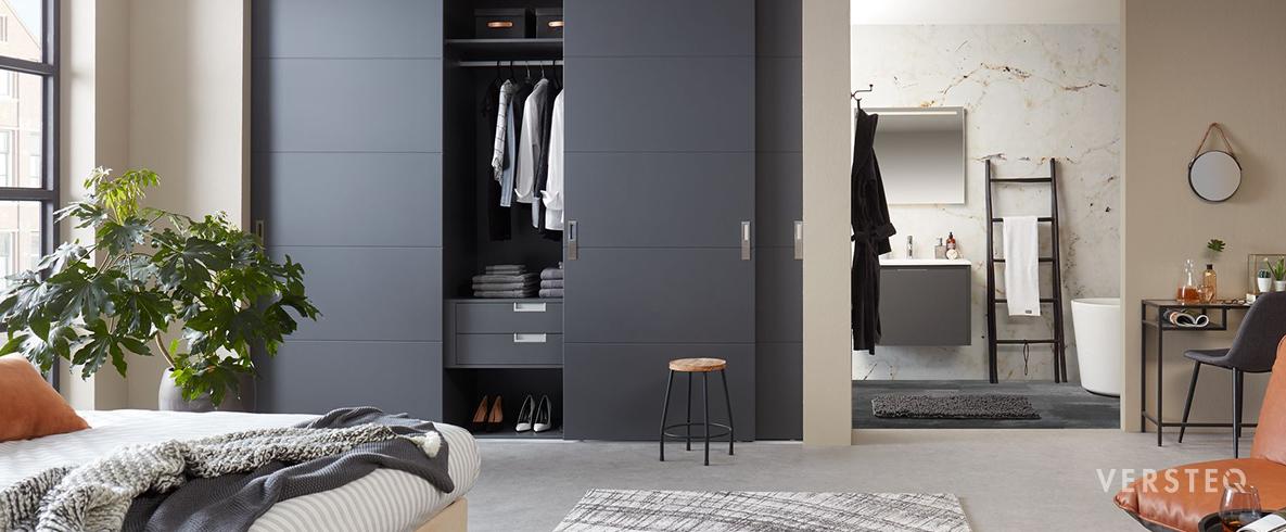 ook de kastmodules kunnen afgestemd worden op uw smaak en interieur door een variatie aan greepjes kleuren en structuren kan u een kledingkast ontwerpen